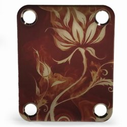 Custom neckplate color flowers and flames