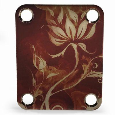 Custom neckplate color flowers and flames