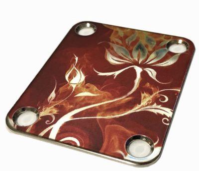 Custom neckplate color flowers and flames closeup