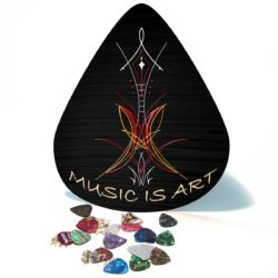 Music is Art pinstripe giant guitar pick wall art