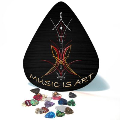 Music is Art pinstripe giant guitar pick wall art