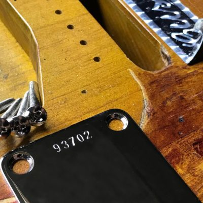 SRV Vaughan First Wife Stratocaster replica neckplate closeup