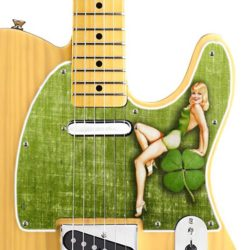 st patricks day telecaster pickguard on guitar
