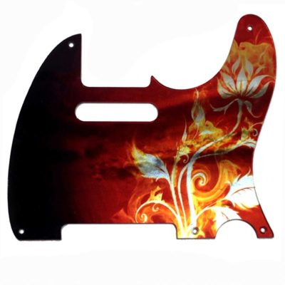 5 HOLE Telecaster iridescent flames and flowers pickguard