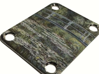 Monet Waterlily custom neckplate for Stratocaster guitar closeup