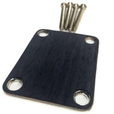 QTR Ebony Custom Shop Guitar neck plate closeup