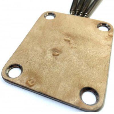 birdseye maple custom shop guitar neckplate close