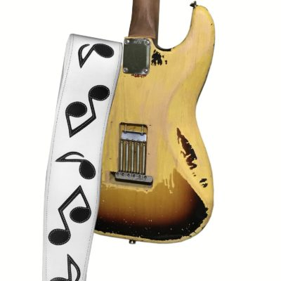 Earth 3 SRV Vaughan musical notes leather guitar strap on Stratocaster WHITE
