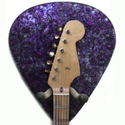 purple Abalone Giant Pick Guitar Hanger with headstock
