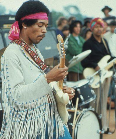 Hendrix wearing strap Woodstock