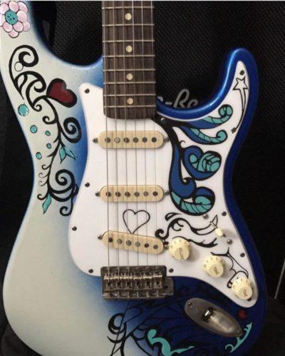 blue hendrix monterey stratocaster pickguard