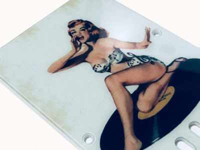 Vintage pinup girl on record tremolo cover close