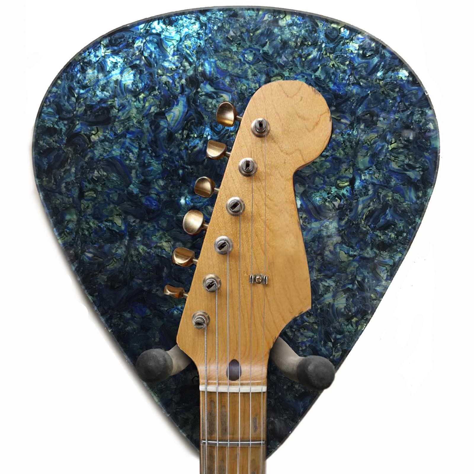 Axetreme Pick Guitar Wall Hanger™ - Includes String Swing Hanger - Faux Blue/Green Abalone
