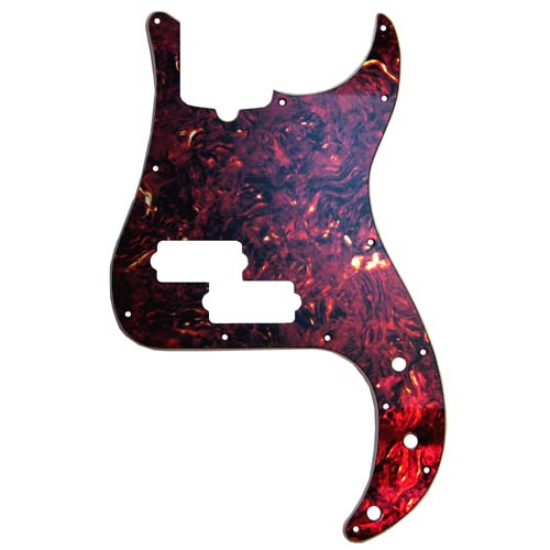 Precision Bass Faux Vintage Maroon Red Tortoise Pickguard - 2-ply