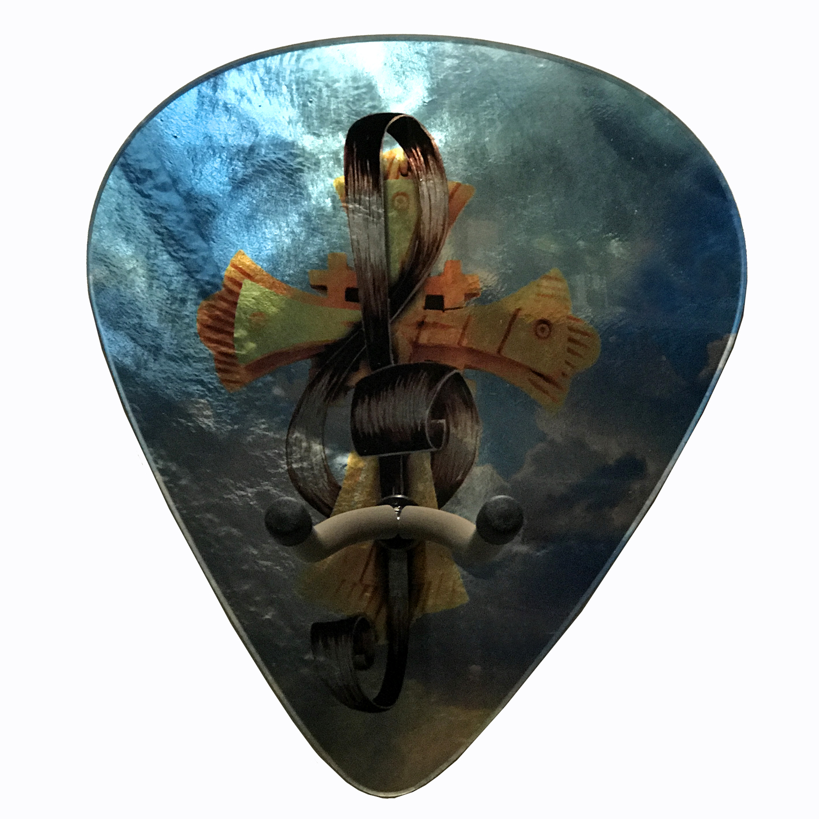 Axetreme Pick Guitar Wall Hanger™ - Includes String Swing Hanger - Christian Cross / Treble Clef