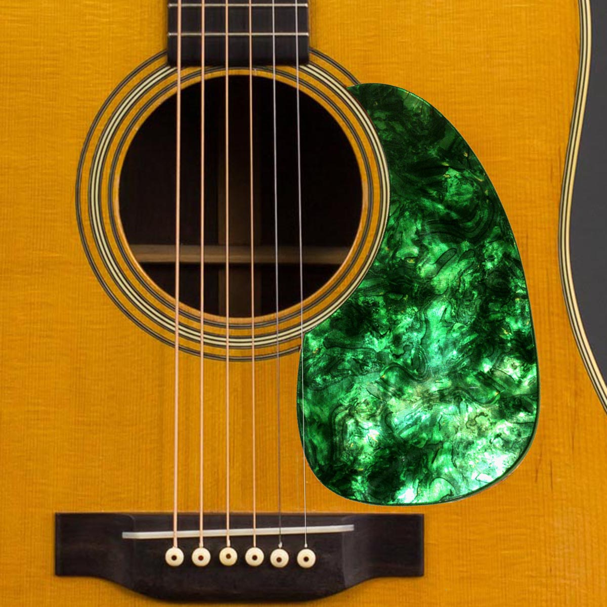 Acoustic Custom Pickguard - Iridescent GREEN Abalone