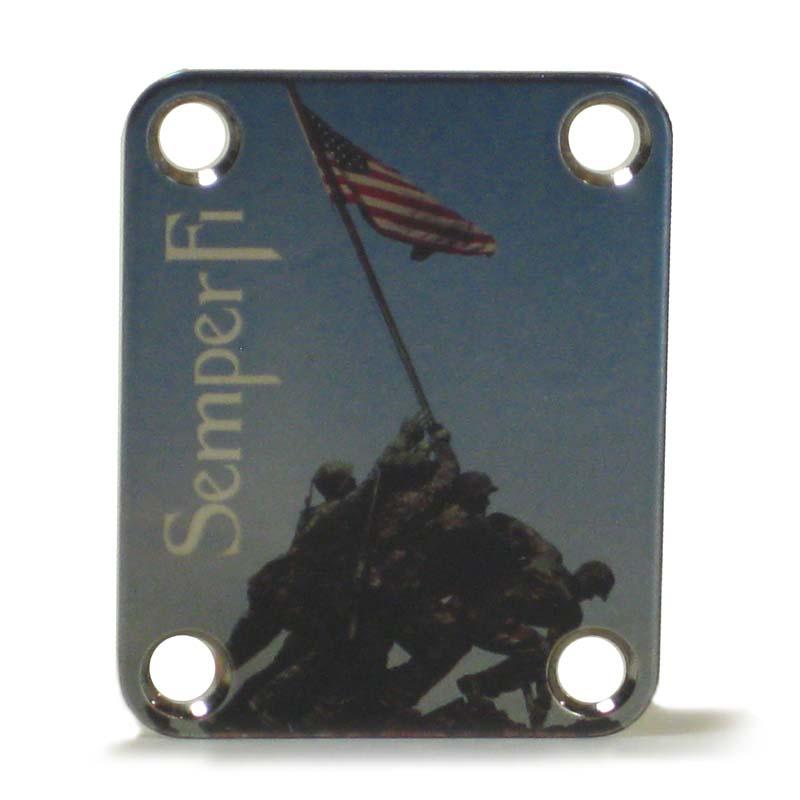 Custom Shop COLOR Neckplate USMC Marines -Fits Strat /Tele / Bass - 50