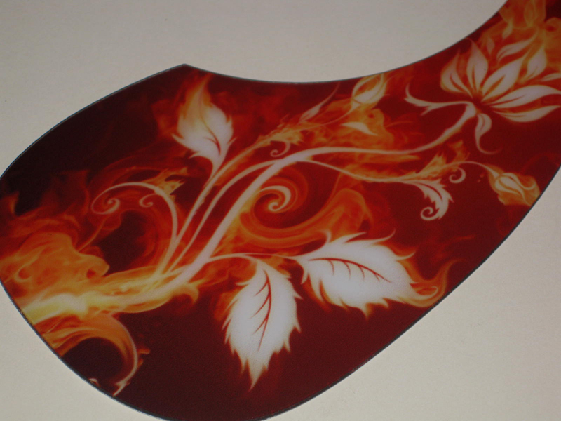 Acoustic Custom Pickguard - Flowers / Flames - 011