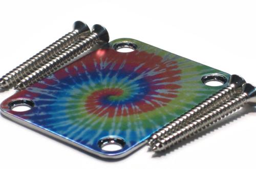 Custom Shop Neckplate TIE DYED -Fits Strat /Tele / Bass - CUSTOM ORDER