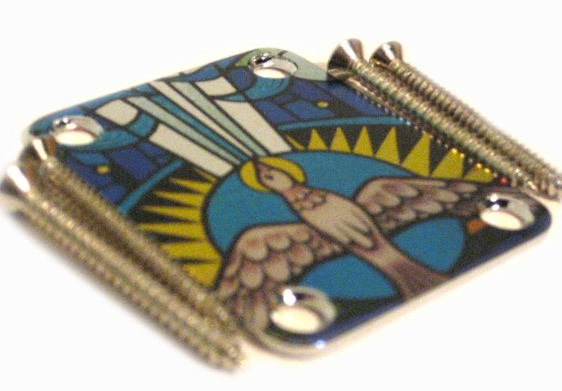 Custom Shop COLOR Neckplate Christian / Dove  -Fits Strat /Tele / Bass - SPECIAL ORDER