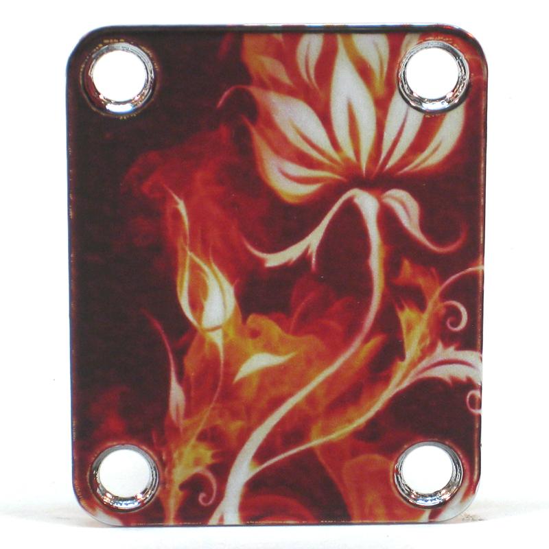 Custom Shop Neckplate Flowers / Flames -Fits Strat /Tele / Bass - 041