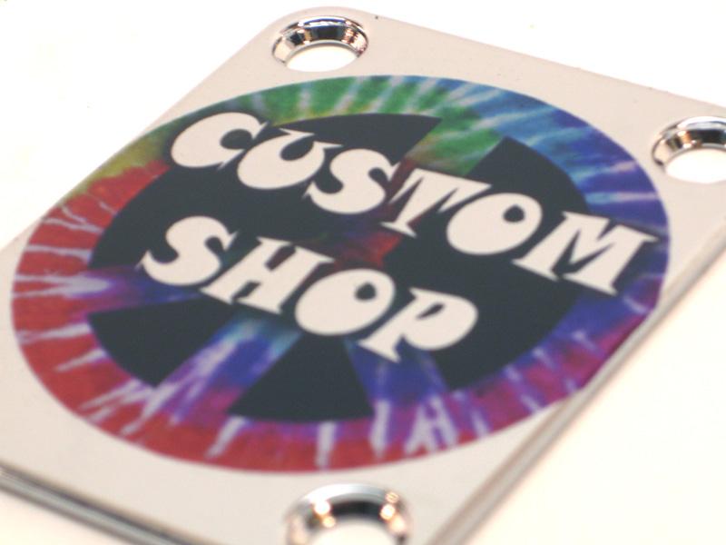 Custom Shop Neckplate Custom Shop Tie Dyed -Fits Strat /Tele / Bass - 044