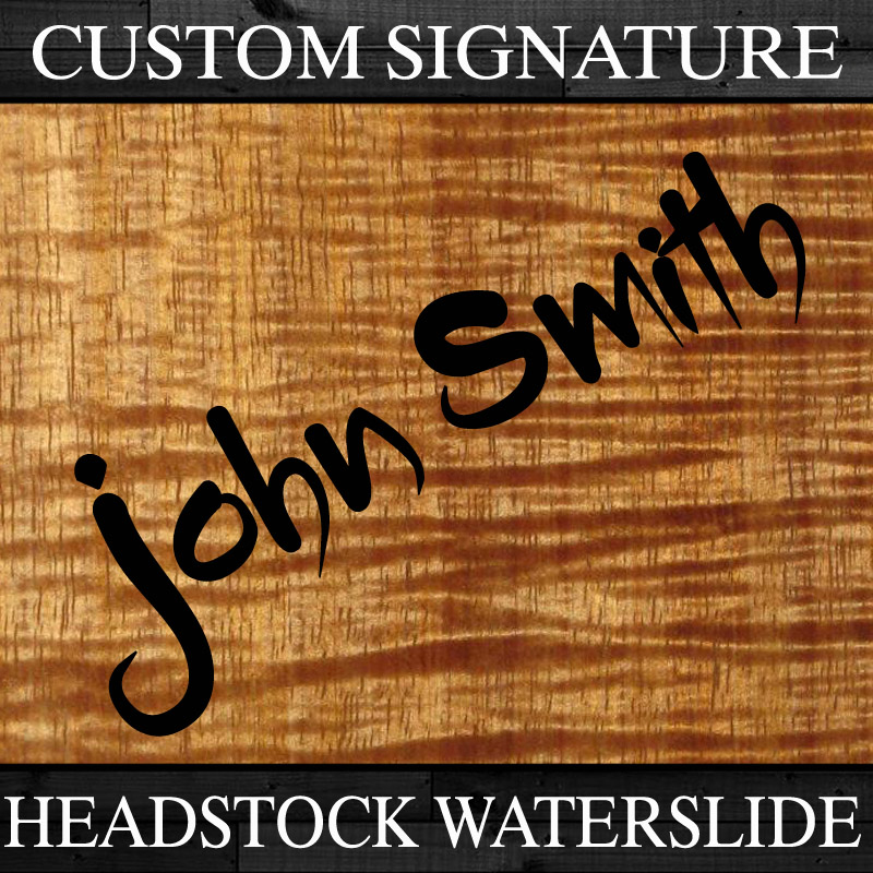 Your Custom Signed Name Personalized Guitar Headstock Waterslide Decal - 3 PACK